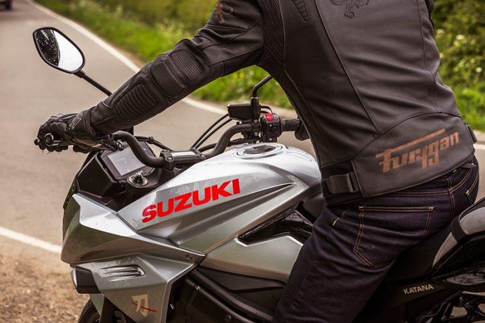 suzuki katana silver motorbike action